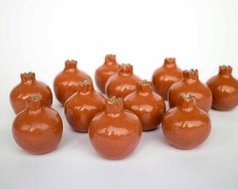 Wedding favors, Handmade ceramic pomegranate, brown pomegranate, ceramic, pomegranate vase, ceramics and pottery, ceramic wedding favor box