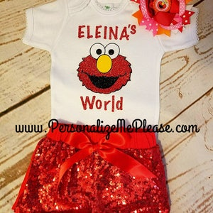Girl Elmo Worlds Birthday Outfit, Elmo Birthday Outfit, Elmo First Birthday Outfit, Elmo Second Birthday Outfit, Sequin Shorts,