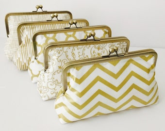 Bridesmaid Gift, Clutch Purse, Gold and white Wedding Clutches, Accessory, Formal purse