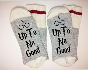 If you can read this socks, up to no good, wool socks, stocking stuffer, holiday socks, mens socks, womans socks, red stripe socks
