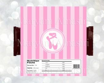 Ballerina  theme chocolate Bar Wrapper , Ballet favor,pink, INSTANT DOWNLOAD ,DIY . Digital file