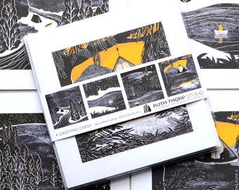 Pack of 4 Cards - Wilderness Collection / Greeting Cards / black and white / yellow / landscape / escape / forest / river / camping / art