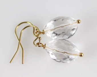 Crystal Quartz Earrings - Gold Filled - Quartz Earrings - Faceted Tri Ovals