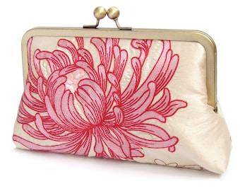 Clutch bag, pink and ivory silk purse, bridal clutch, wedding bag, bridesmaid gift, CORAL CHRYSANTHEMUM