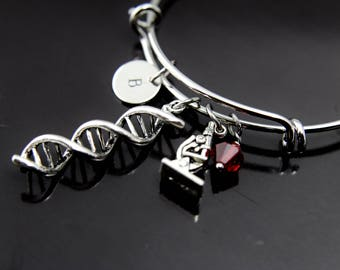 DNA Bracelet Microscope Bracelet Scientists Biology Laboratory Researcher Gift Chemistry Gift Forensic Jewelry Personalized Bangle
