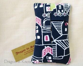 Pocket Tissue Holder - navy blue, white, magenta travel cover for To Go Facial Tissue Packets, houses in the neighborhood, flowers