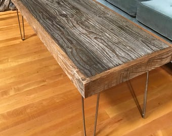 "Sale! 46""x16""x18""H Rustic and Modern Coffee Table made of Reclaimed Barn Wood - Hairpin Legs - Shabby Chic- Upcycled - Salvaged"