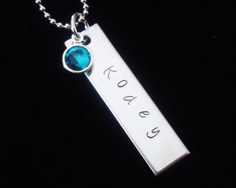 Hand stamped Pendant necklace with Personalized name - Mothers necklace - With Swarovski birthstone