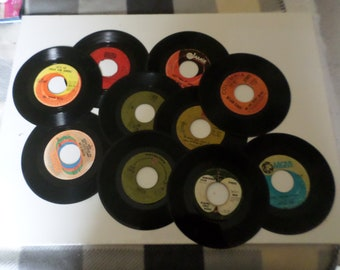 """Vintage Vinyl 7"""" 45s For Crafting And Art Lot"""
