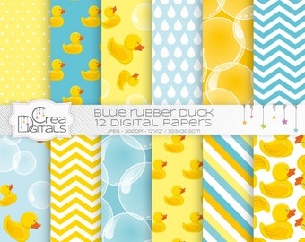 Rubber Duck - 12 aqua and yellow digital papers - DIRECT DOWNLOAD