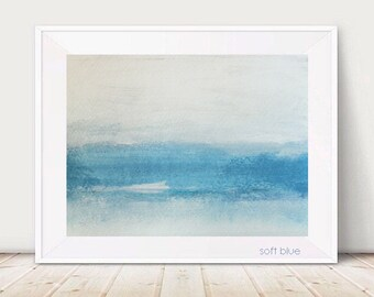 SOFT BLUE Modern Abstract Art Original Painting Blue White Paper Matted Waterscape Landscape Gift Small Wall Hanging Diy Decor Home Bedroom