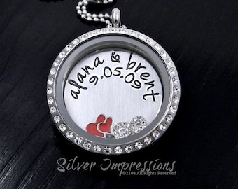 Couples Floating Locket  /  Wedding Necklace  / Hand Stamped Jewelry