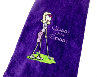 Golf towel, gift for her, Queen of the Green, golf towel women, funny golf, embroidered towel, personalize golf, Mother's Day, birthday gift