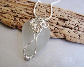 Beach Glass Pendant - Sea Glass - White Sea Glass - Wire Wrapped-Beach Glass Jewelry -ocean jewelry gift statement necklace genuine seaglass