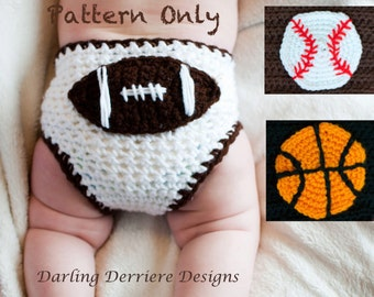 PDF Instant Download Sports Diaper Cover Crochet PATTERN with Football, Baseball, and Basketball