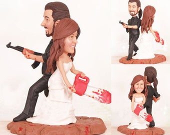 Personalised wedding cake topper - Zombie Wedding Cake Toppers  (Free shipping)