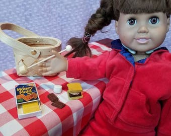 Campfire Smores set. All you need to make and enjoy a Smores sandwich. Inspired by American Girl and intended for doll play. AG Dolls
