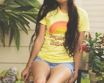 Bohemian Daydream Believer Song Tee - Vintage Inspired Monkees Boho Women Music Rainbow T-Shirt