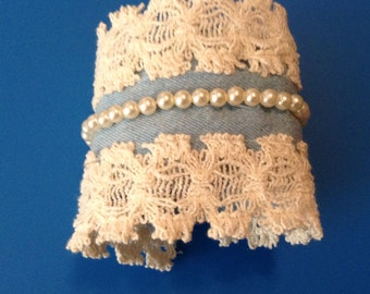 Handmade Denim Cuff Bracelet with Beads and Lace
