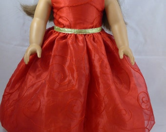 18 Inch Doll Dress Red, 18 Inch Doll Clothes