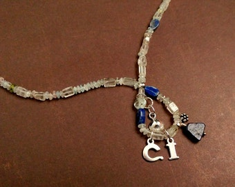 Custom Initials Necklace in Sterling Silver Charms With Lapis Lazuli and Aquamarine Gemstones