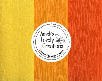 60g Italian fine crepe paper (masking)-light yellow, golden yellow, light/dark orange-quality made in Italy by Cartotecnica Rossi.