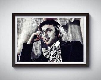 Gene Wilder as Willy Wonka Inspired Art Poster Print, Gene Wilder as Willy Wonka Movie Poster