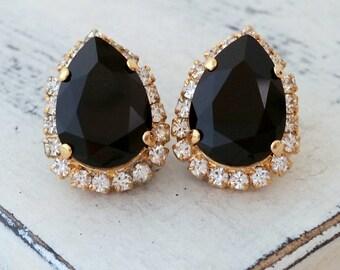Black crystal Swarovski teardrop earrings, Stud earrings, Bridal earrings, Bridesmaids gifts, rhinestone earrings, Gold earrings, weddings