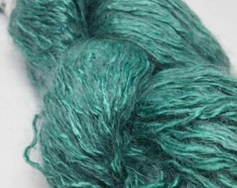 Fluffi- Seide mit Kidmohair türkis-grün für Kleidung und feine Accessoires