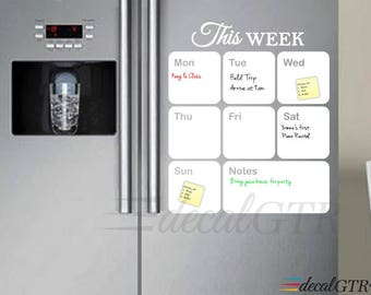 16x19 Dry Erase Weekly Calendar - fridge weekly planner vinyl wall decal - white board for kitchen - D014