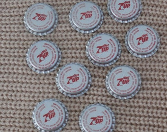 10 diet 7UP 7 Up Soda Bottle Caps for crafting or collecting, Unused