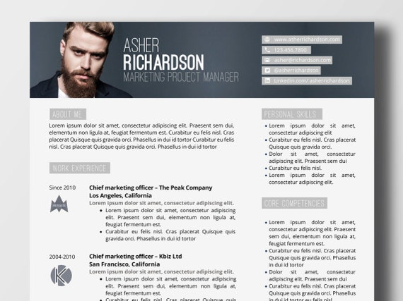 modern resume with logos and bannier word