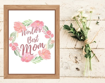 Mother's Day Gift From Daughter, Mom Birthday Gift, Gift From Son, World's Best Mom Printable, Gift For Wife, Under 10 Gift for Mommy