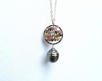 Tahitian pearl watermelon tourmaline necklace beachy, hawaiimade,boho,gold filled