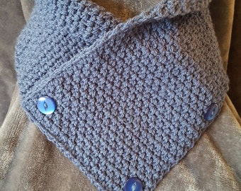 Handmade crochet cowl / neckwarmer / scarf in Denim blue yarn with decorative buttons