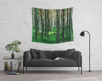 wall tapestry, oversized wall art, forest tapestry, tree tapestry, bohemian wall tapestry, nature tapestry, green tapestry trees nature