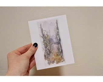 Blank notecards, watercolor, trees, winter