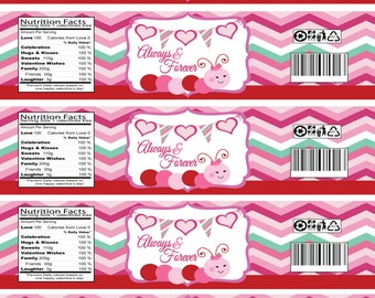 INSTANT DOWNLOAD - Cute Caterpillar Valentine's Day Water Bottle Labels