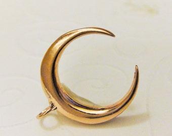 Vermeil, 18K  Rose Gold over 925 sterling silver  half moon charm pendant, Gold Tusk Charm, Shiny Rose Gold half Moon
