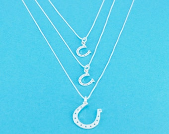 Mother Daughter Horseshoe Necklace Set.  Mother Daughter Jewelry. Mother Daughter Equestrians.  Valentines Day Gift for Her.