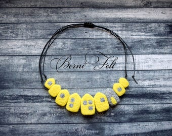 Design Necklace Felt Necklace  Houses Necklace Wool Jewelry Yellow Necklace