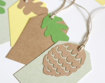 Set of 10 Blank Gift Tags - Pine Cones and Oak Leaves - Woodland Collection - Kraft Brown, Yellow, and Green