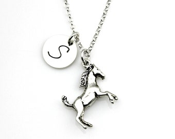 STALLION HORSE Initial Sterling Silver Necklace - equestrian - horse lover - horse necklace - equine veterinarian *