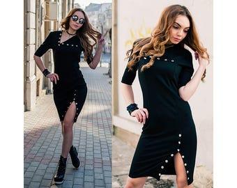 Women's Dress With Snap Buttons/Midi Dress/Elegant Dress/Bodycon Dress/Black Dress/Straight Line Dress/Knee Length Dress /3/4 Sleeve Dress