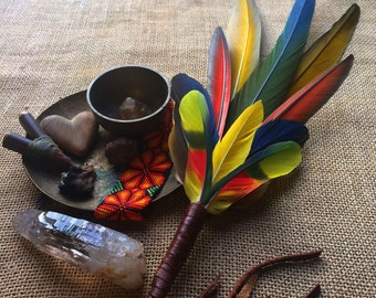 Smudging feather wand for tribal, shamanic, pagan, ceremonial, witch, goddess, ayahuasca, peyote ceremonies / feather bouquet feathers