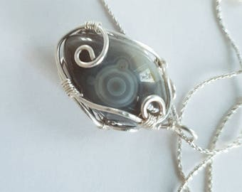 Fisheye Agate crystal pendant - silver wire crafting on silver chain