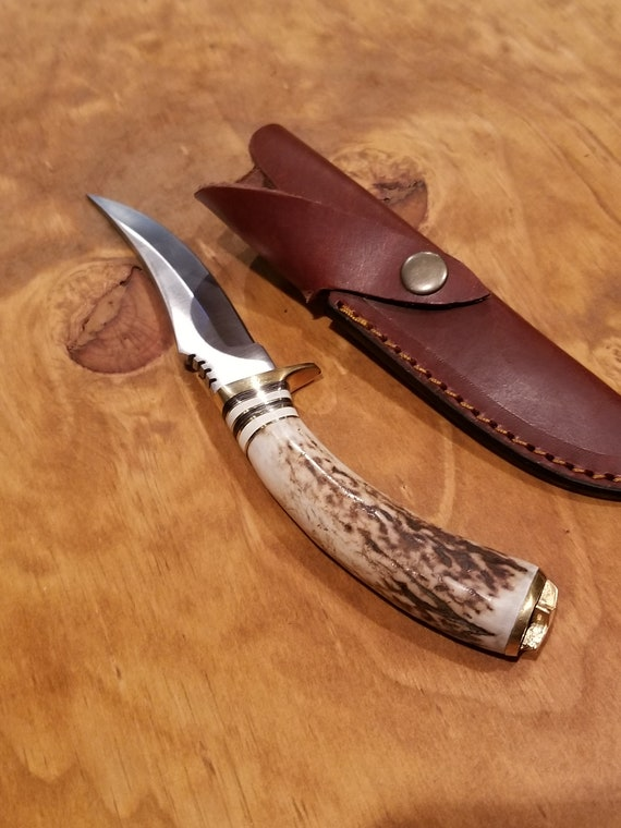 Handmade Deer Antler Handle Hunting Knife Skinner Blade Stag Horn Collection With Leather Sheath Outdoors (K106)