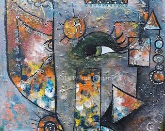 Original Shri Ganesha Painting on Canvas Board, Ganesha Altar Art, Hindu Wall Decor, Elephant headed obstacle remover Hindu God from India