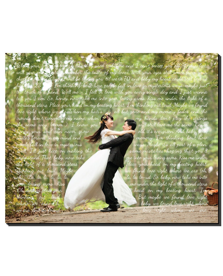 Photo To CANVAS Any Song Lyrics Wedding Song First Dance