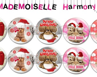 Teddy bear Christmas 10 glass cabochons 18 mm size 18 mm cabochons